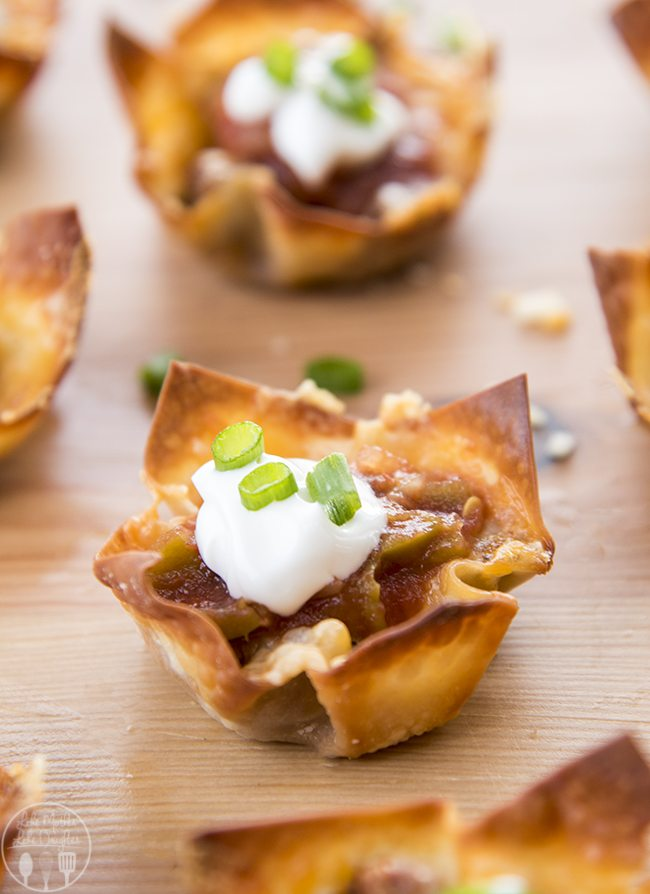 Wonton Taco Cups - These mini taco cups have layers of crunchy wonton shells, seasoned beef and melty cheese. Top them witheveryone's favorite toppings for a great appetizer or dinner!