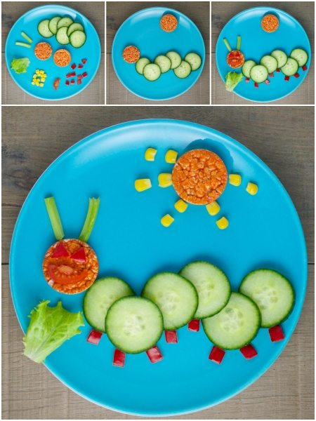 Organix-fun-healthy-and-easy-Food-Art-Plates-for-toddlers-fun-caterpillar-plate-with-full-instructions