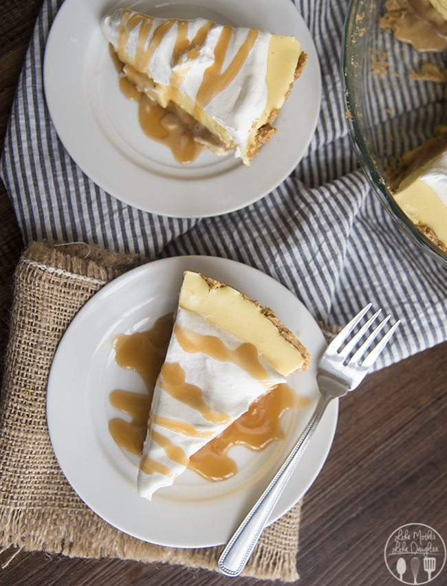 Cream pies are the best ever and this caramel banana cream pie is the cream of the crop. With a caramel layer added beneath the banana cream pie filling!