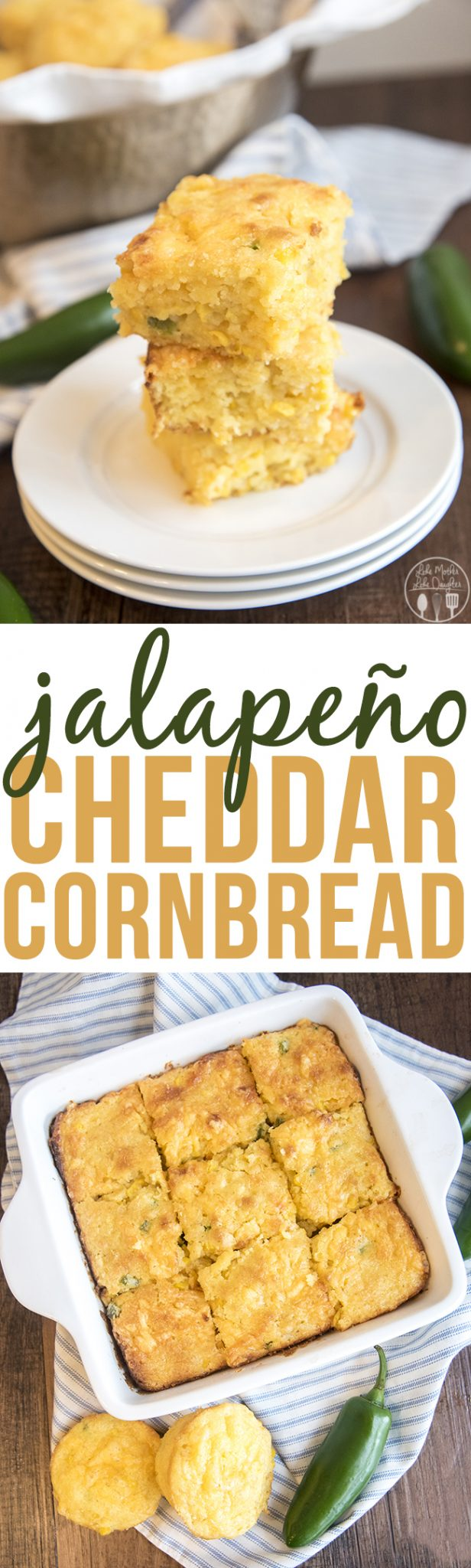 Jalapeno Cheddar Cornbread - This delicious savory cornbread is full of diced jalapenos and cheddar cheese. Perfect for a quick and easy side dish!