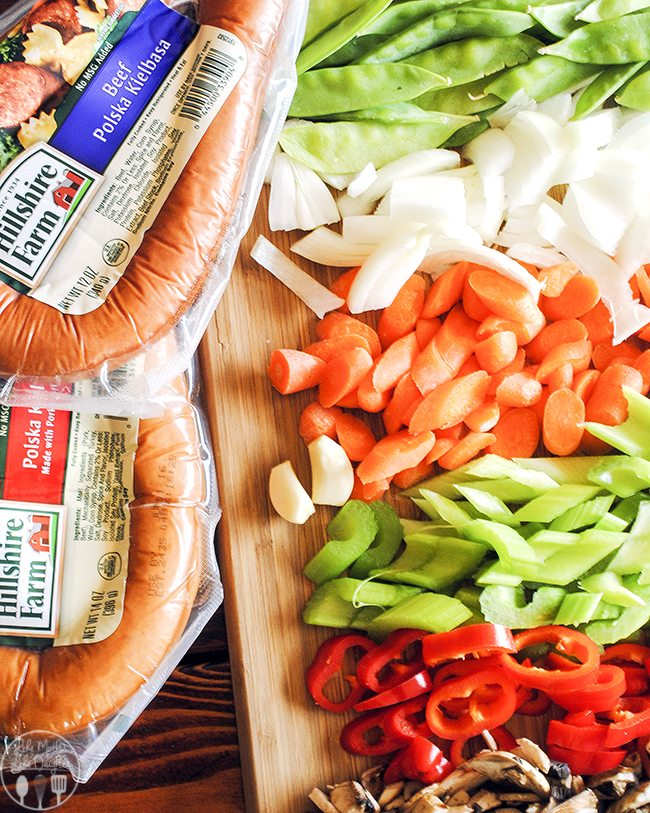 Polska Kielbasa Stir Fry is packed with vegetables galore along with kielbasa sausage for a new upgraded stir fry, serve it over your favorite rice.