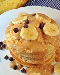 Chunky Monkey Pancakes and Sauce for the perfect pancake flavored throughout with bananas and chocolate chips topped with banana peanut butter sauce.