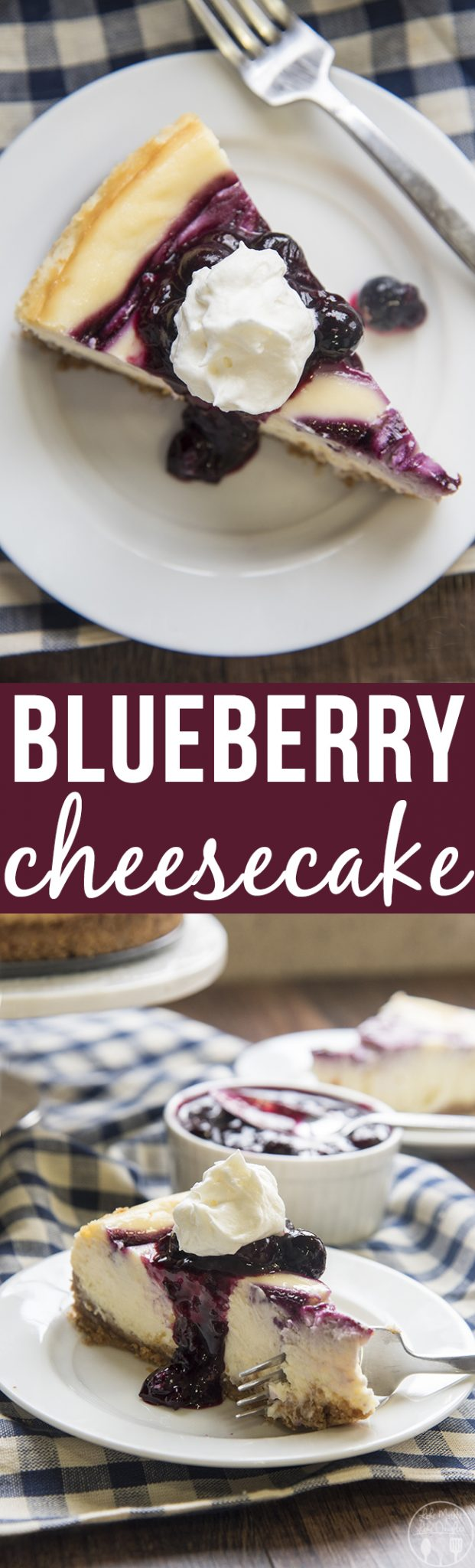 Blueberry Cheesecake - This blueberry cheesecake starts with a buttery graham cracker crust, a creamy cheesecake center, and a tangy blueberry swirl. This cheesecake is incredible!