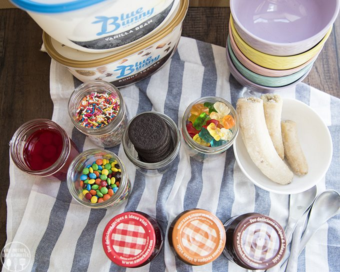 Banana Split Bar - This is a great way to make a dessert everyone will love because everyone can customize their ice cream with the toppings and sauces they love! It will be a huge hit