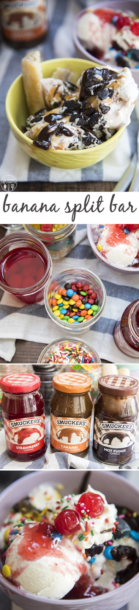 Banana Split Bar - This is a great way to make a dessert everyone will love because everyone can customize their ice cream with the toppings and sauces they love! It will be a huge hit!