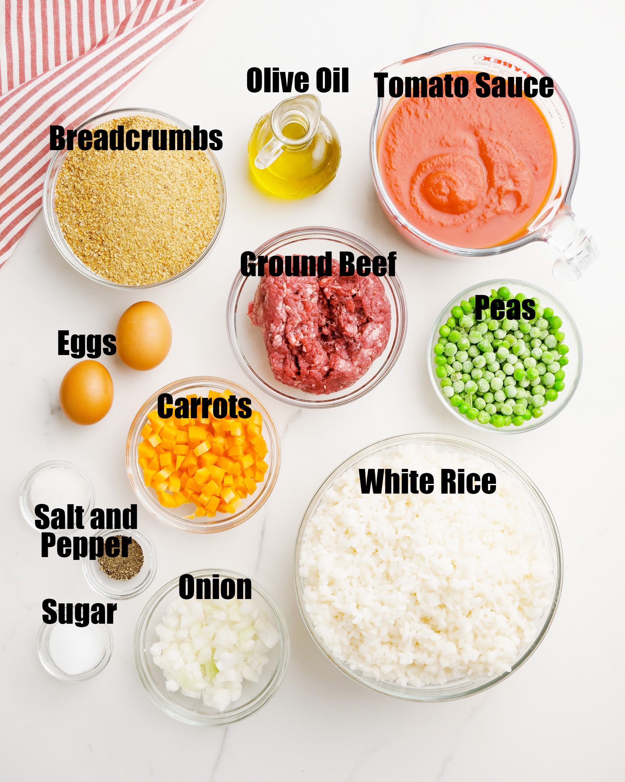 The ingredients needed to make arancini rice balls.
