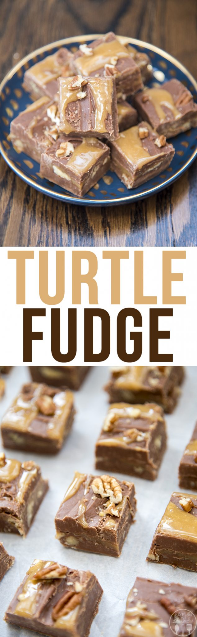 Turtle fudge is a creamy chocolate fudge with a caramel and pecan center! Its a delicious treat that everyone will love!
