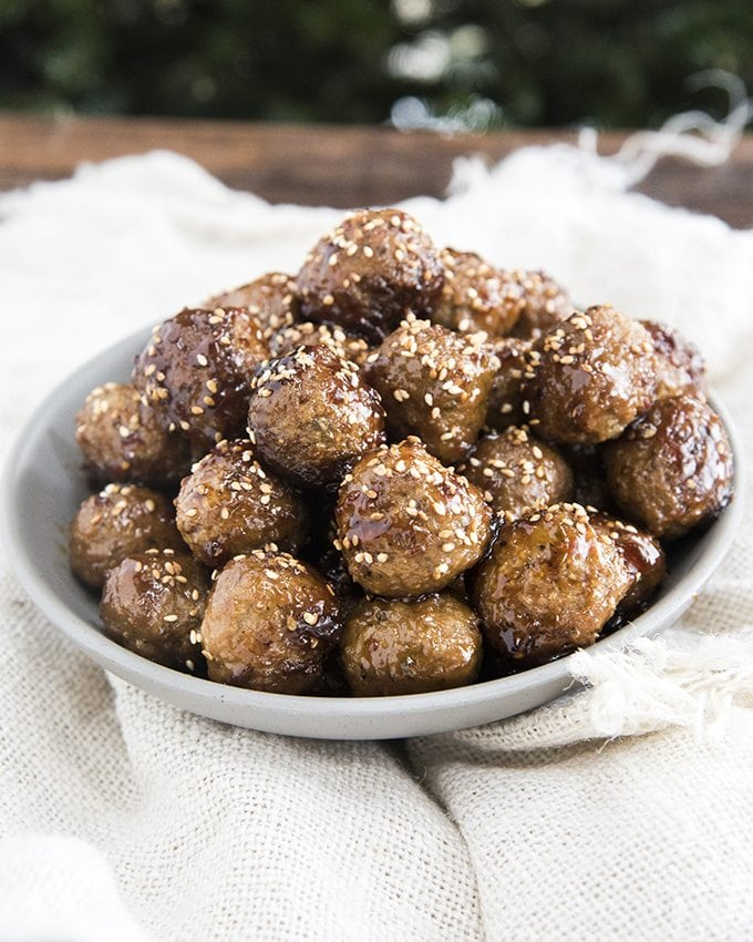 Teriyaki meatballs are covered in a to die for flavorful sauce. Great served as an appetizer or over rice as a main dish!