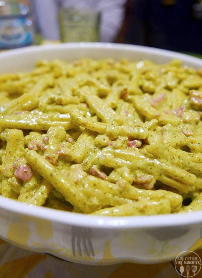 Casarecce pasta with basil pesto is a delicious pasta with ham coated in pesto for an easy and flavorful dish that everyone will love!