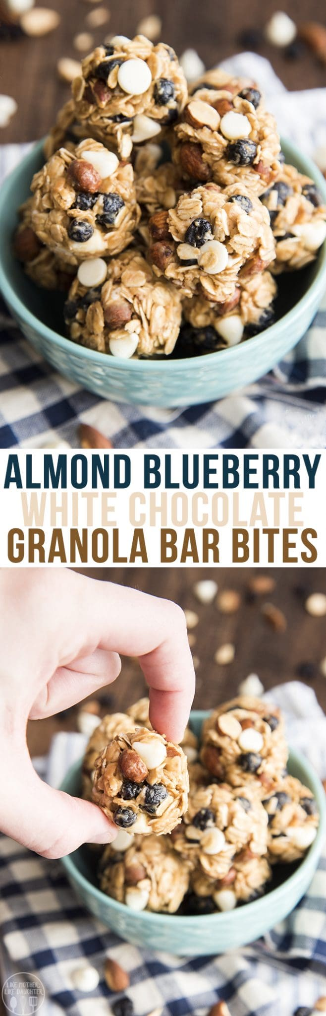 These blueberry almond white chocolate chip granola bar bites are an amazing healthier treat made with only 6 ingredients, great for a portable snack!