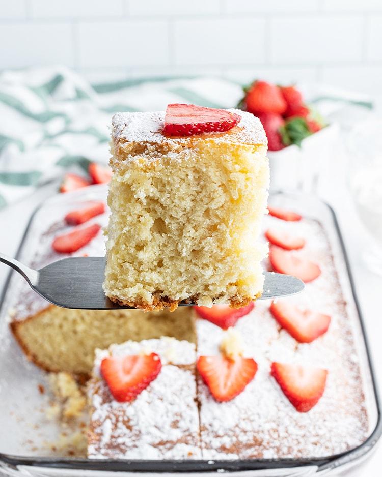 A slice of yogurt cake on a cake spatula