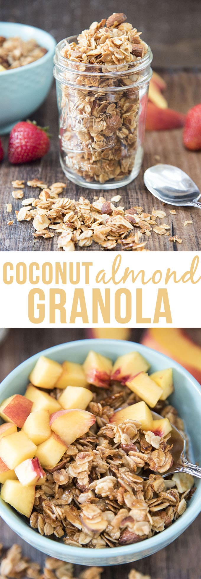 This coconut almond granola is a delicious sweet, crunchy granola, bursting full of flavor. Its perfect with milk, fruit, or yogurt, or delicious plain for a quick breakfast or snack!