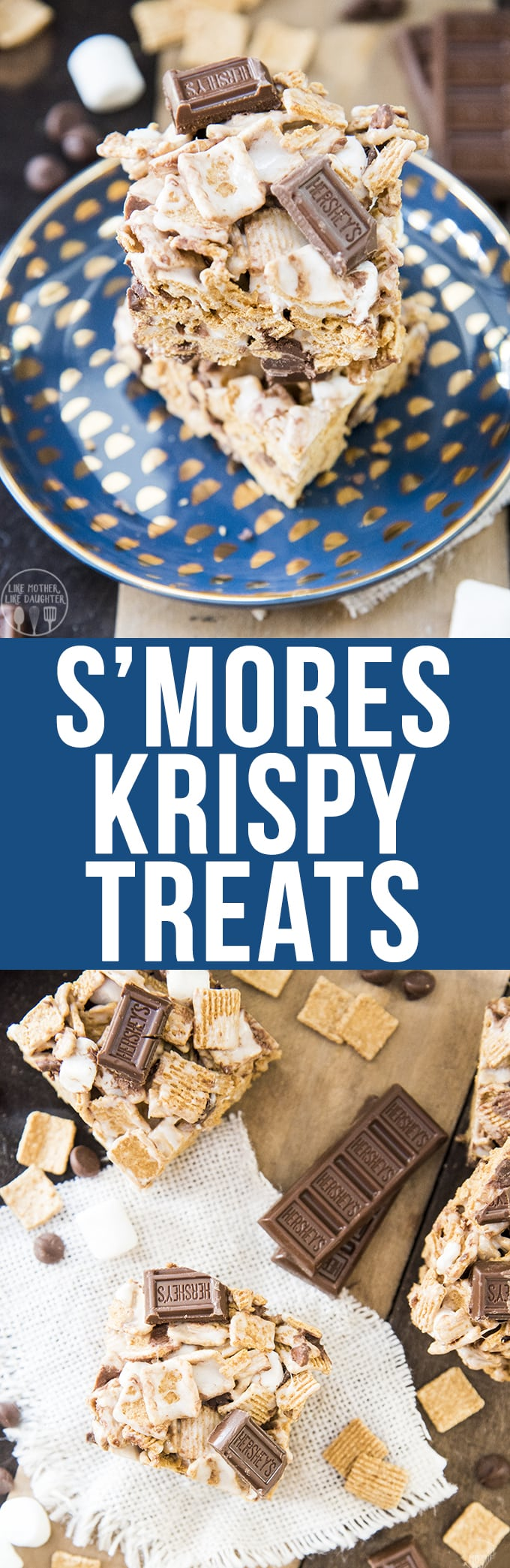 A twist on tradtional rice krispy treats, these s'more krispy treats are made with golden graham cereal and chocolate in addition to the gooey marshmallows.