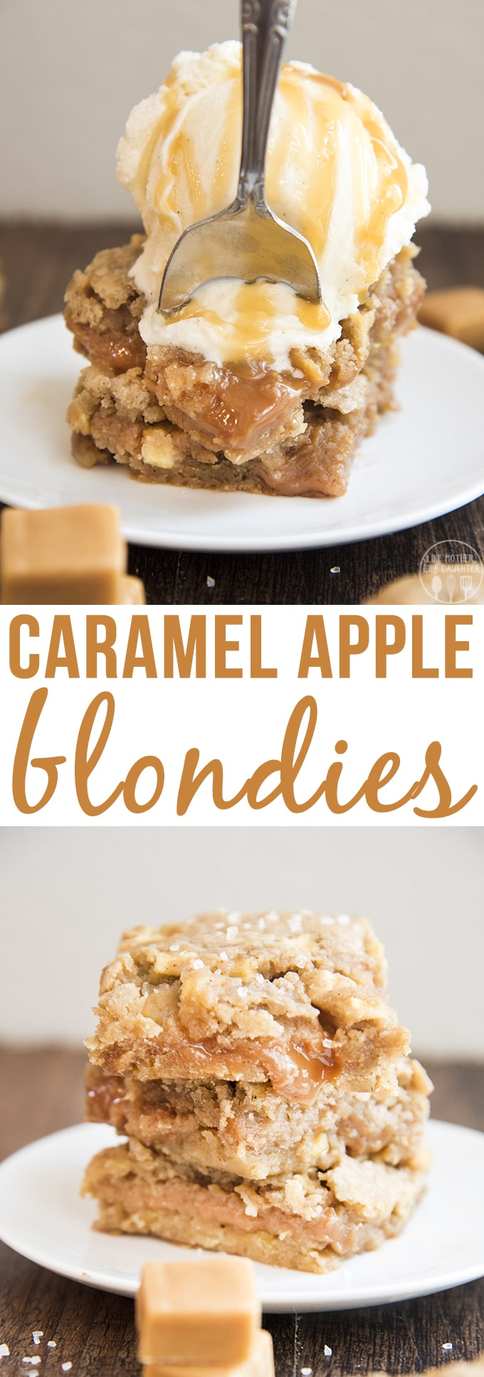 Caramel apple blondies are a delicious brown sugar blondie stuffed full of apple pieces and lots of gooey caramel for a perfect fall dessert!