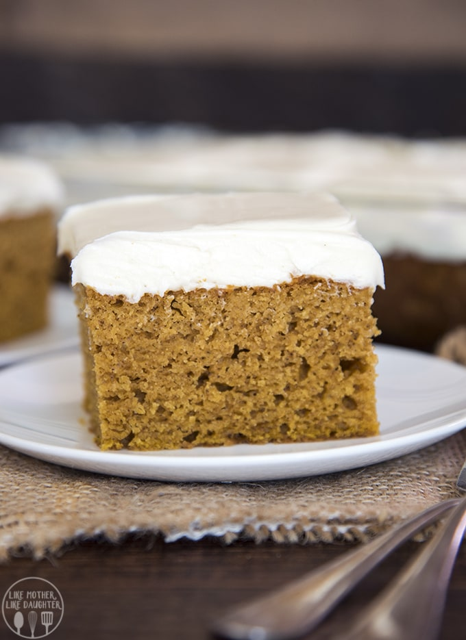 pumpkin cake topped with the best cream cheese frosting!
