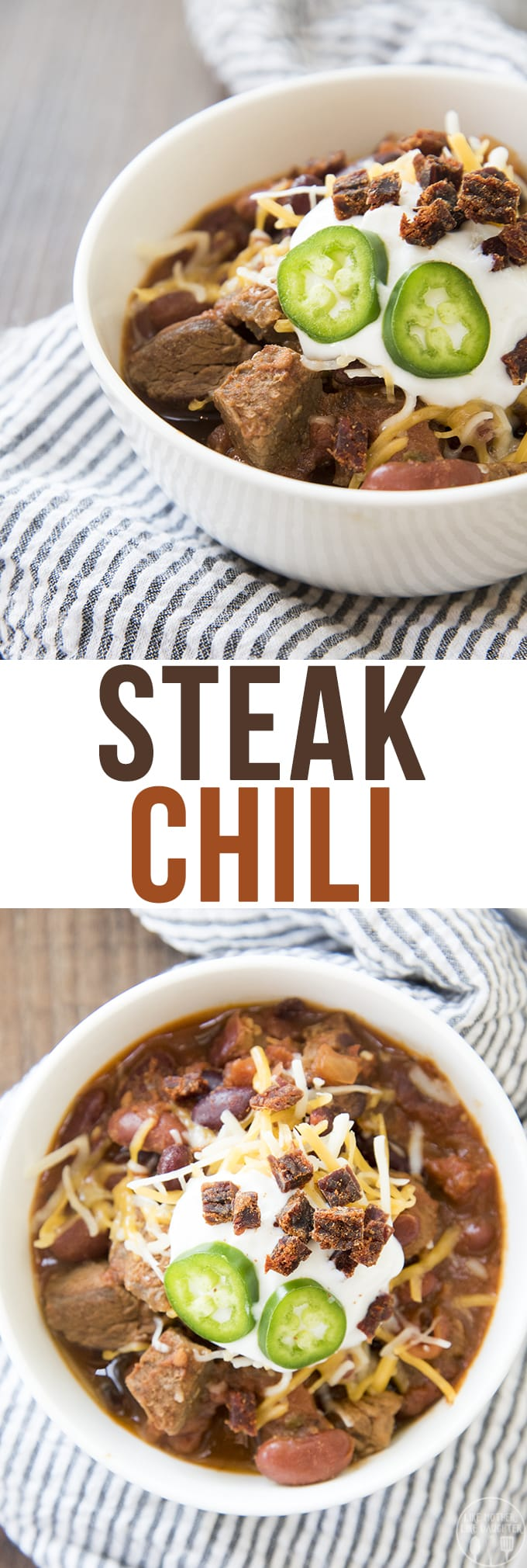 Steak Chili is a delicious and hearty chili packed full of big pieces of steak instead of ground beef. Its perfect with your favorite toppings and great paired with cornbread.