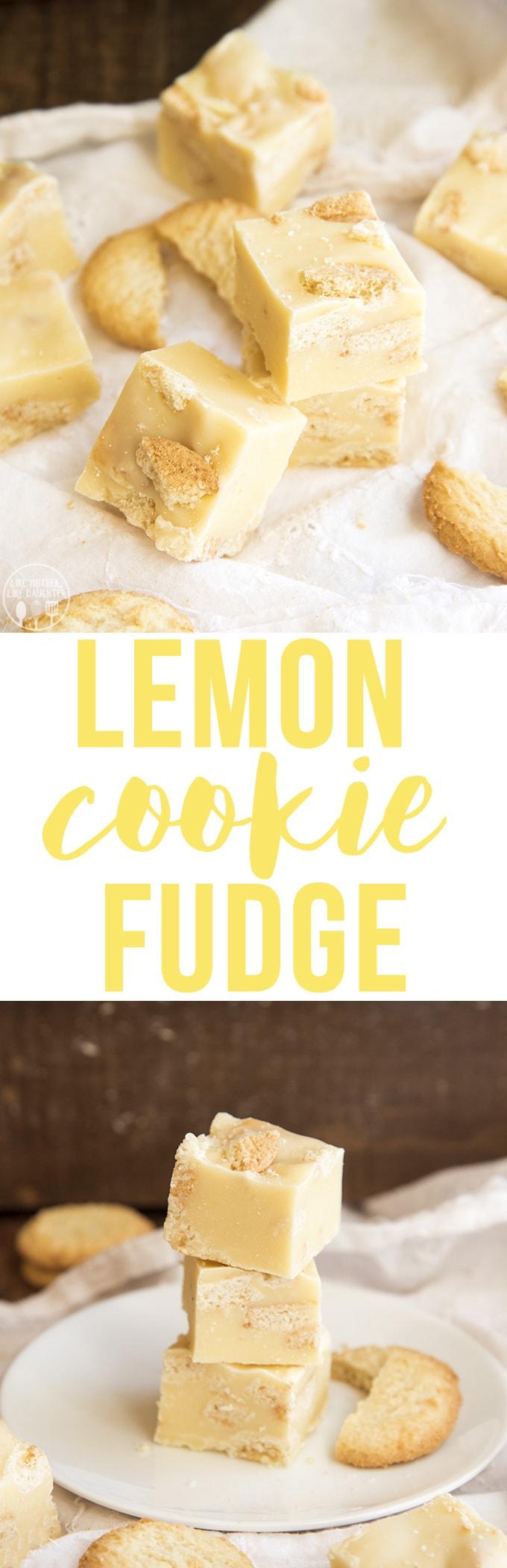 Lemon Cookie Fudge is a tangy microwavable lemon fudge, stuffed full of lemon cookies for a taste of sunshine all year long.