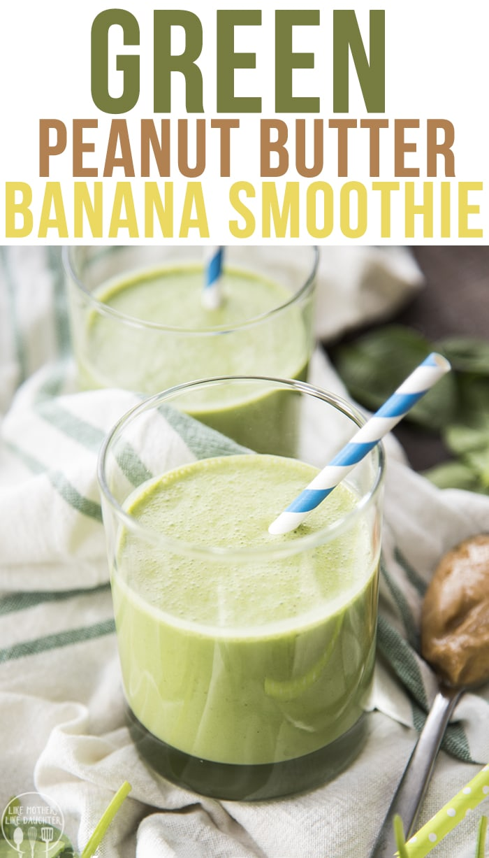 A green peanut butter banana smoothie that is perfect for a healthy and nutritious breakfast, or light snack.