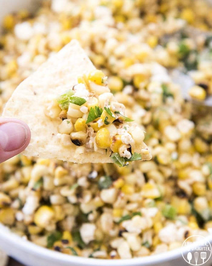 Mexican street corn salad is delicious eaten with a spoon, or with chips.