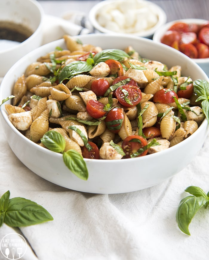 Caprese Pasta salad with mozzarella, tomatoes, basil and a balsamic dressing