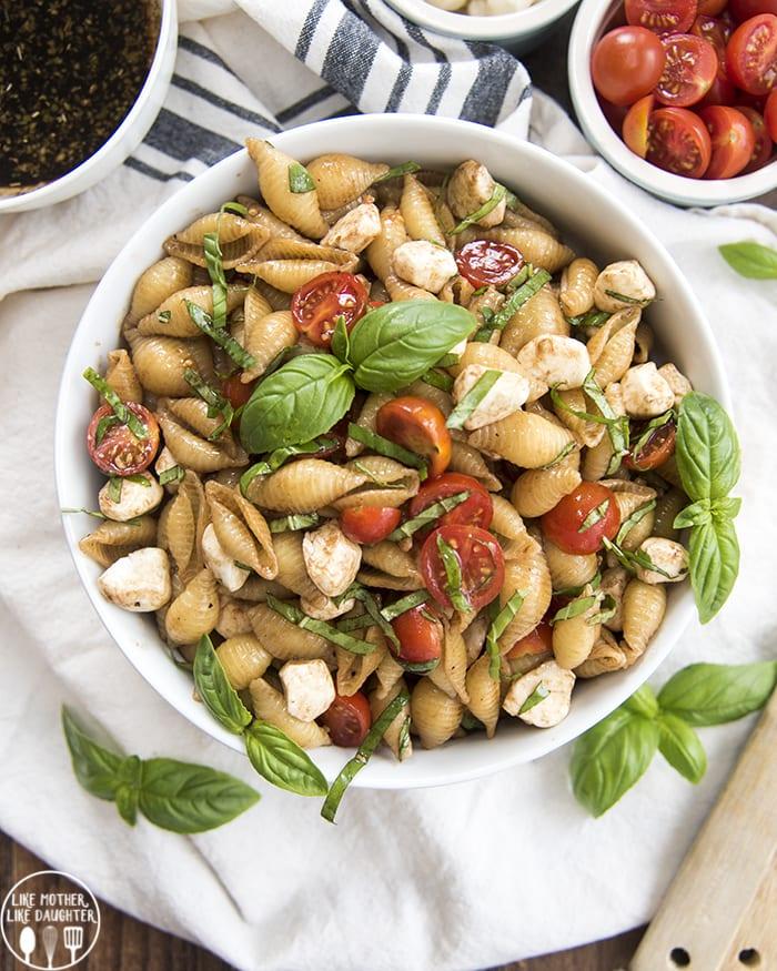 Basil, Tomato, Mozzarella pasta salad