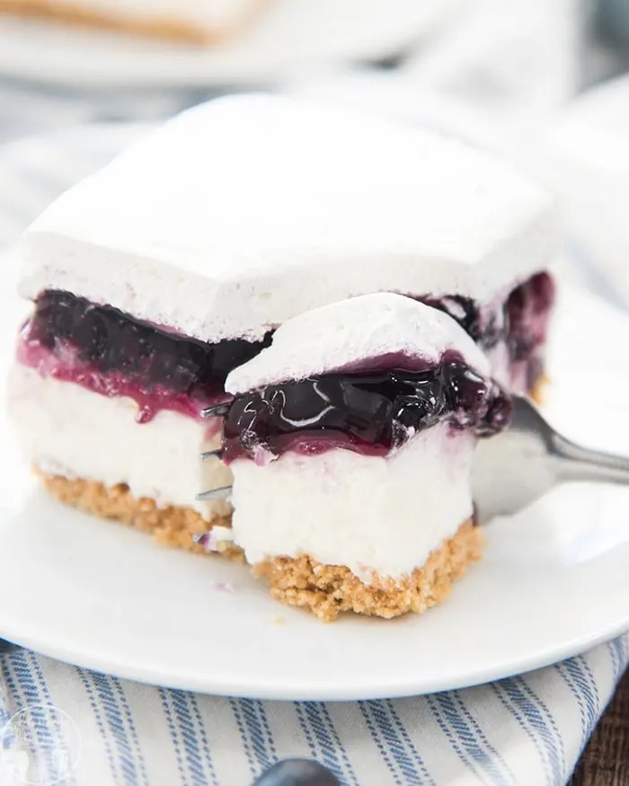 These blueberry cheesecake bars are the perfect no bake summer dessert!