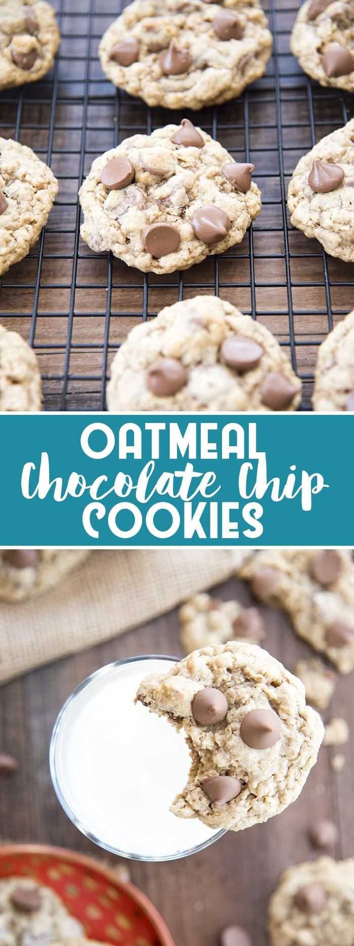 Oatmeal Chocolate Chip Cookies are the perfect chewy, and soft cookies stuffed full of oatmeal and lots of chocolate chips! No chilling the dough!