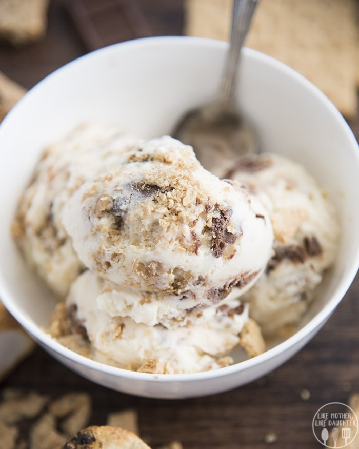 Toasted Marshmallow Ice Cream with a graham cracker swirl and chocolate ganache