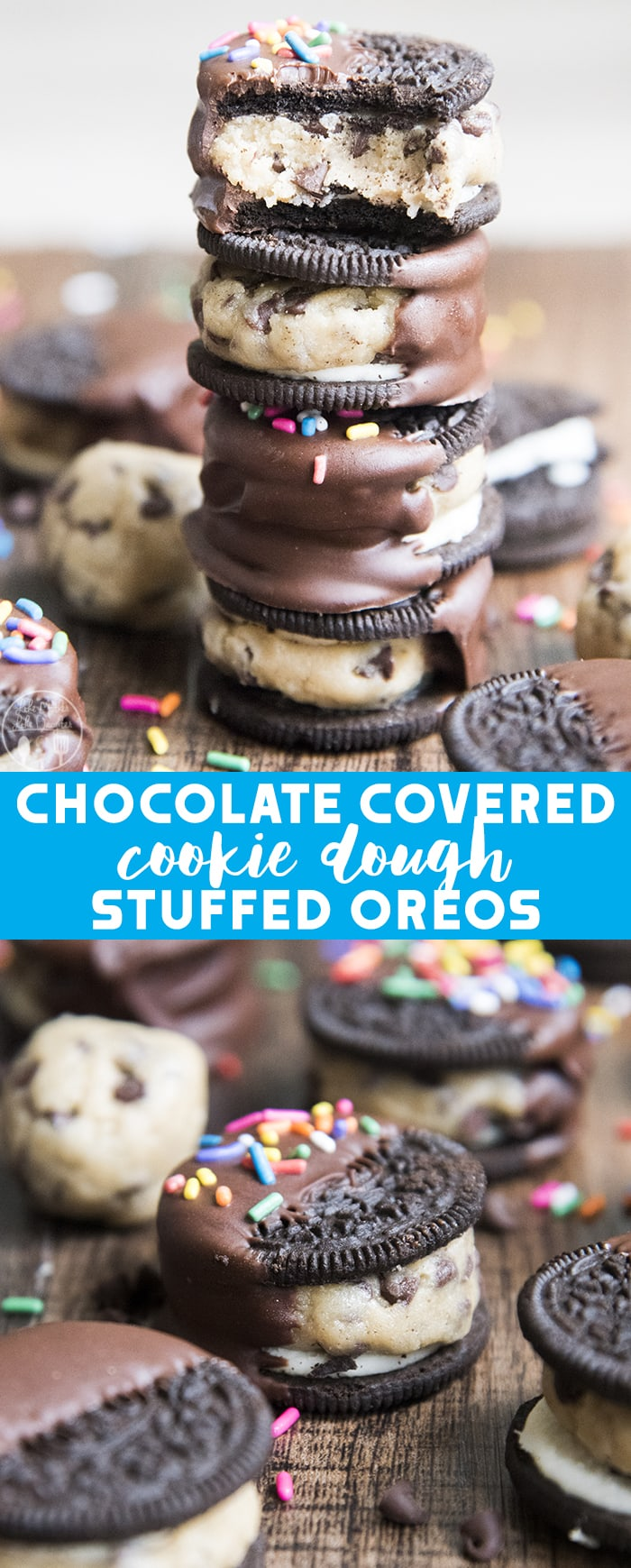 >Cookie Dough Stuffed Oreos, with an edible chocolate chip cookie dough stuffed into the middle of an Oreo cookie and then dipped it chocolate, are sure to satisfy your sweet tooth!
