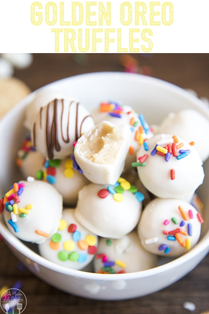 Golden Oreo Truffles are delicious Oreo Balls made with Golden Oreos and dipped in white chocolate. The perfect bite sized treat that everyone loves!