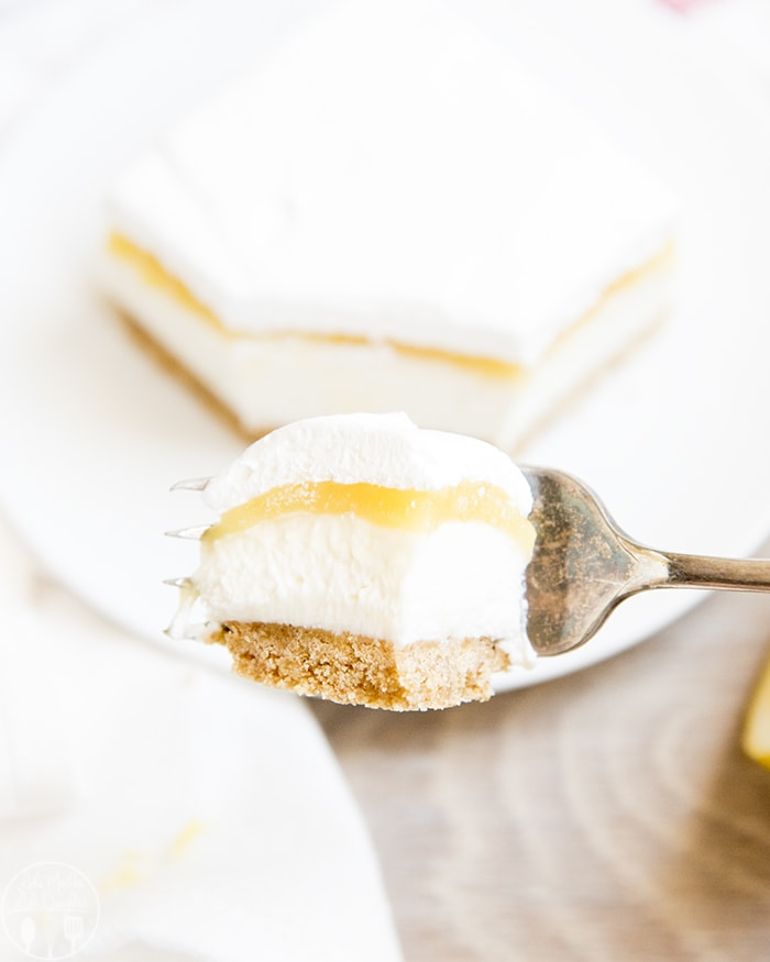 No Bake Lemon Cheesecake Bars with Lemon Curd