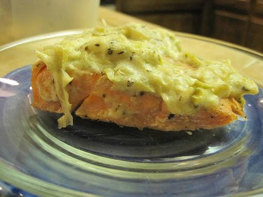 A one of a kind salmon dish with 2 cheeses and artichoke sauce for your healthy eating style.
