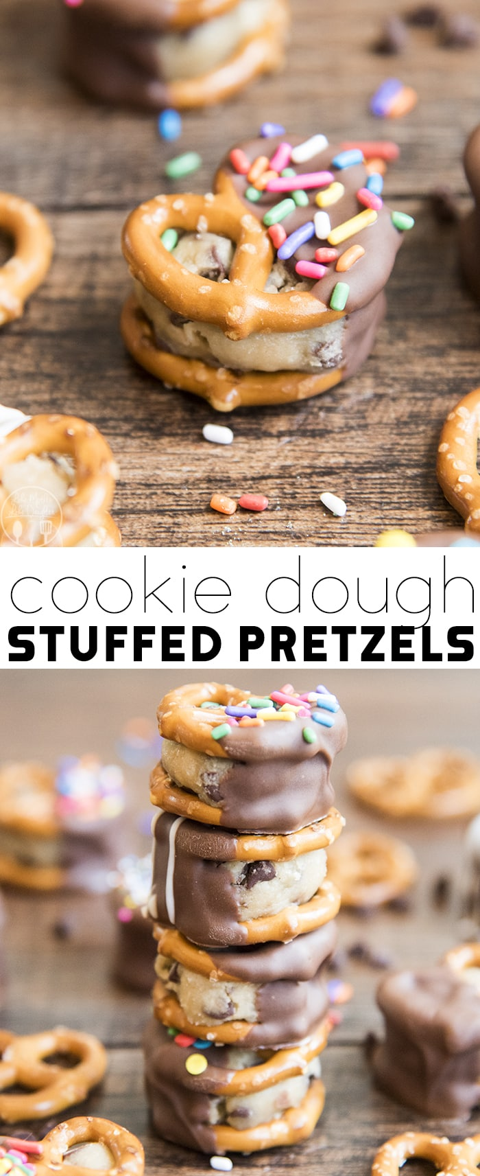 Cookie Dough Stuffed Pretzels are the perfect sweet and salty treat, with eggless cookie dough stuffed in the middle of two salty and crunchy pretzels, and all dipped in chocolate!
