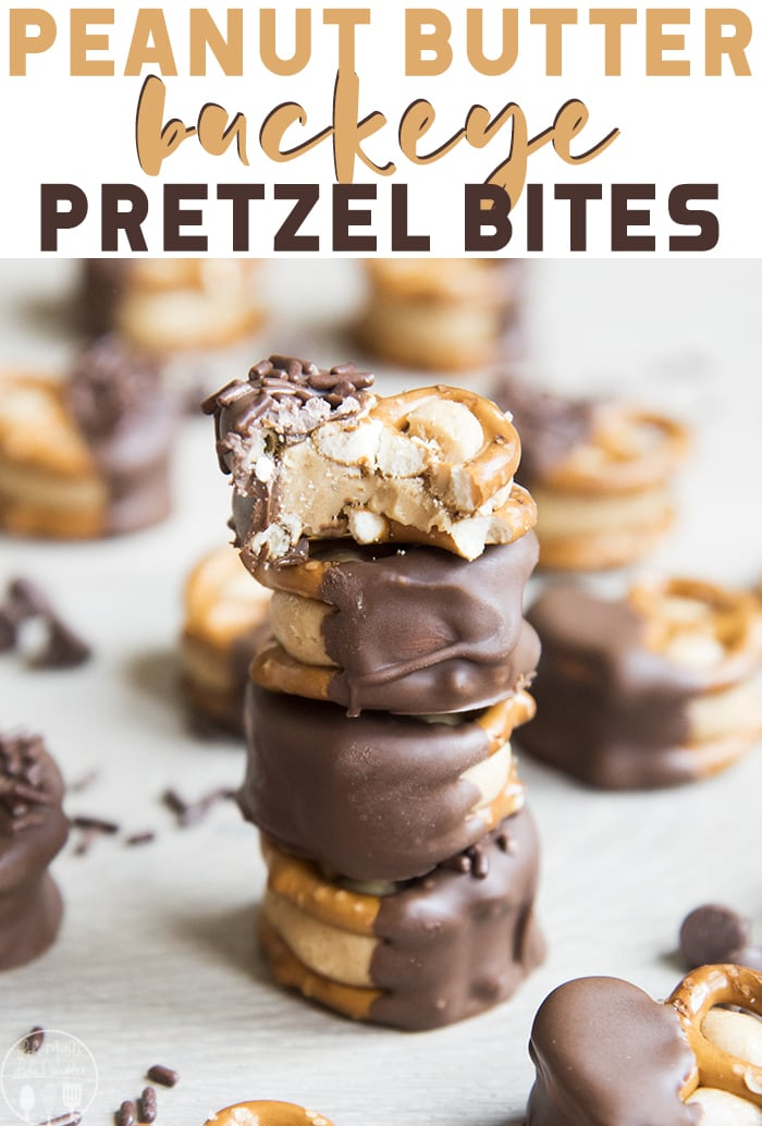 Peanut Butter Buckeye Pretzel Bites are delicious peanut butter balls, squished between two pretzels and dipped in chocolate! They're the perfect bite sized treat!