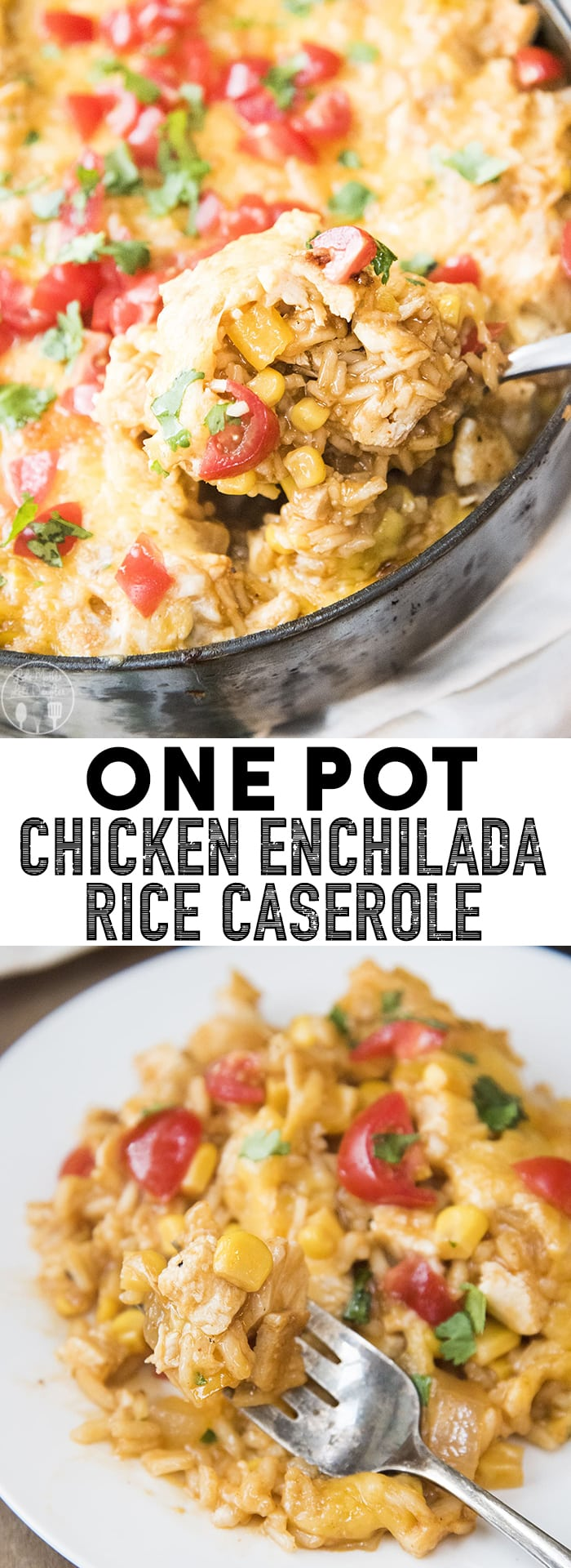 One Pot Chicken Enchilada Rice Casserole is a perfect weeknight dinner idea, its packed full of flavor with shredded chicken, enchilada sauce and cheesy goodness, made in only 45 minutes!