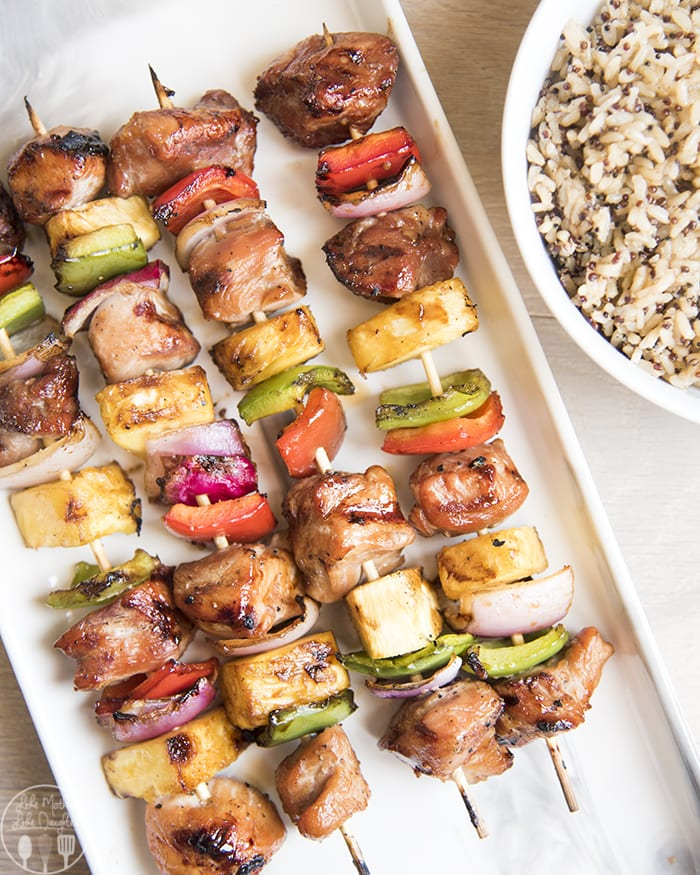 Pork Kabobs covered in a delicious teriyaki marinade