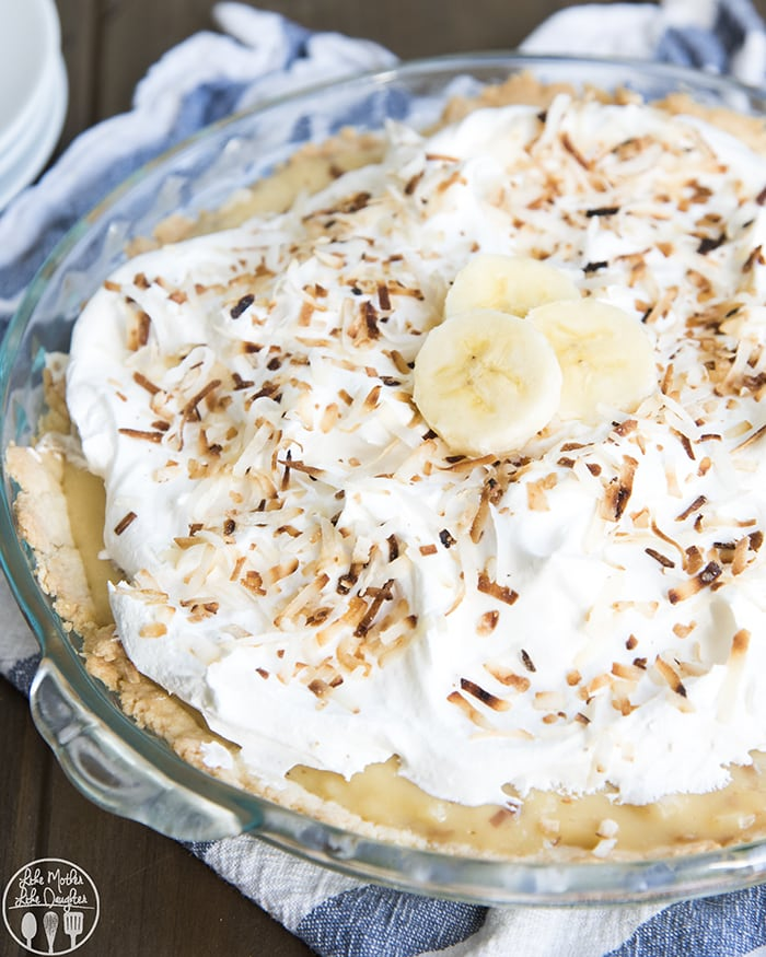 Banana Coconut Cream pie with a toasted coconut custard