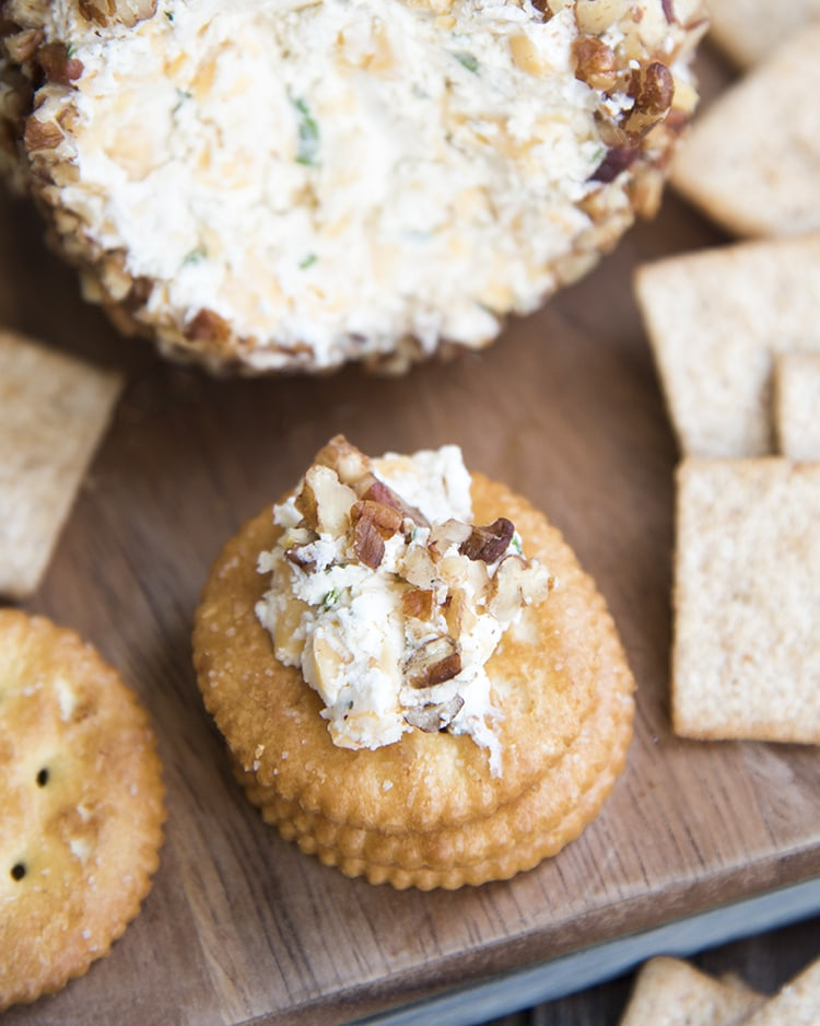 A holiday cheese ball with crackers