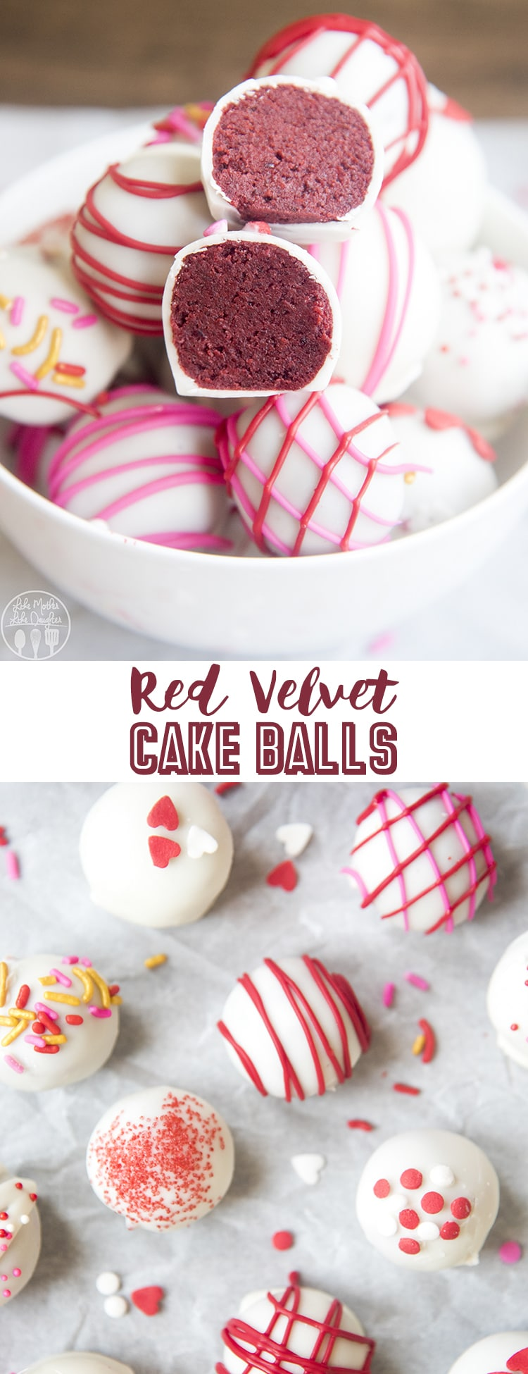 Red Velvet Cake Balls are easy to make with red velvet cake and your favorite cream cheese frosting. Dip them in white chocolate for a delicious bite sized treat!