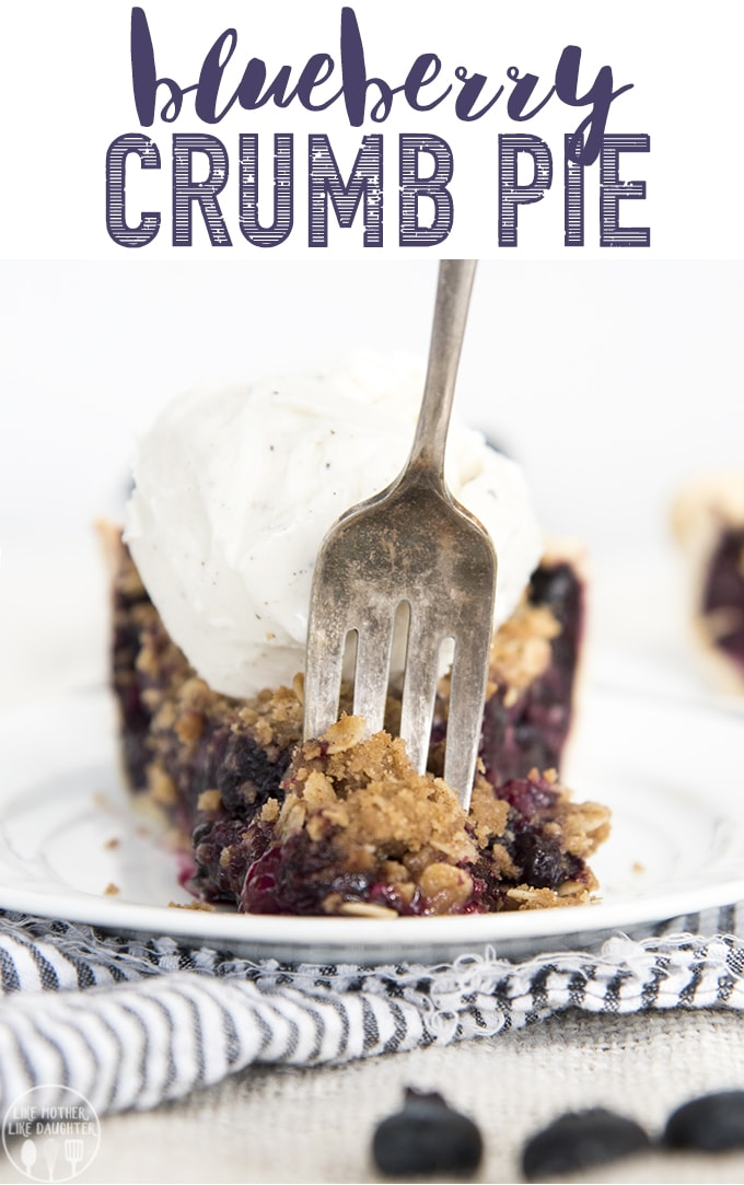 Blueberry Crumb Pie is a sweet blueberry pie topped with a crispy brown sugar oat crumb topping! Perfect with a big scoop of ice cream, or dollop of whipped cream!