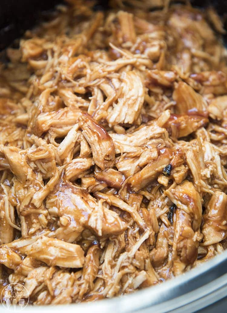 This crockpot bbq chicken is so easy to make, it's the perfect flavorful bbq pulled chicken that can be used in so many different ways, like bbq chicken sandwiches, bbq chicken pizza and more.