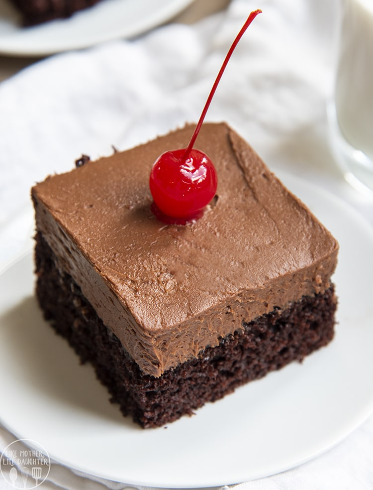 The Best Chocolate Cake - so moist, fudge, and delicious