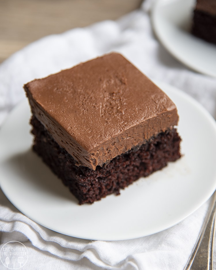 Chocolate Cake on a white plate for the perfect chocolate dessert