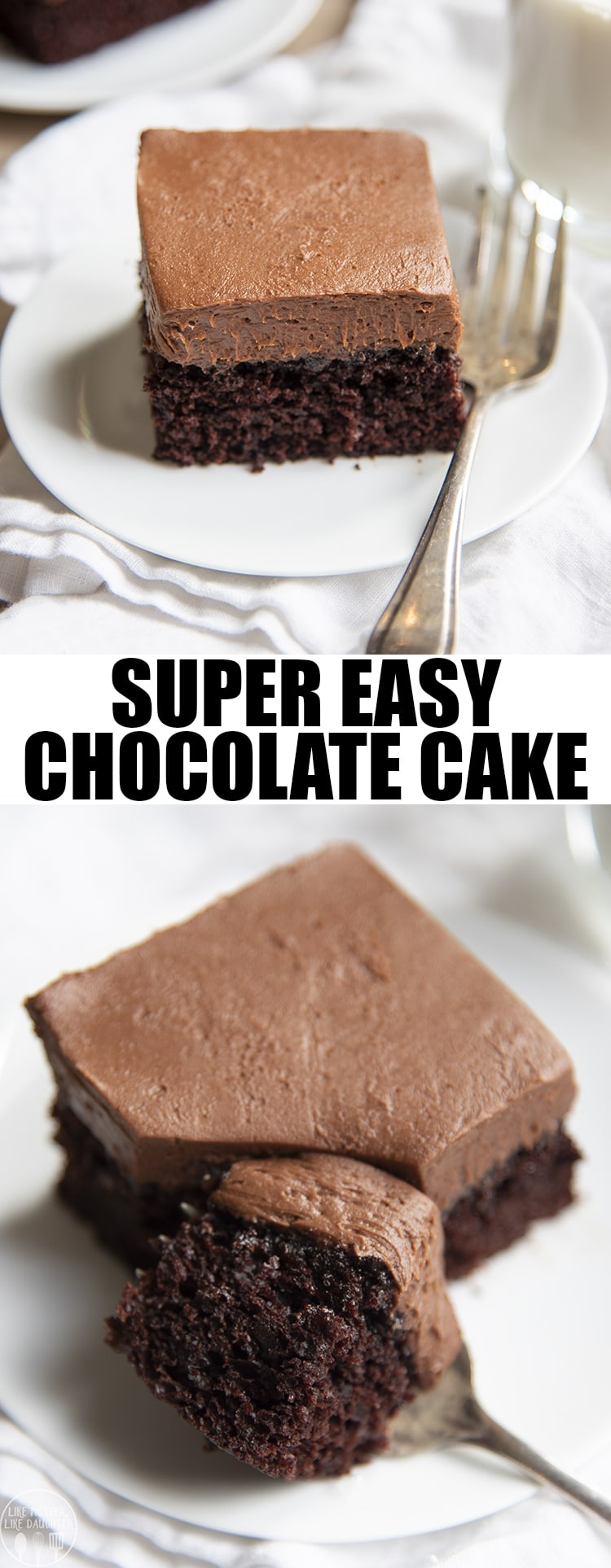 This easy chocolate cake is the best chocolate cake ever, it's fudgy, moist, and so delicious. It's topped with a creamy and rich chocolate buttercream and is the perfect cake for chocolate lovers! Made in a 9x13 pan, it's the easiest cake there is! #easyrecipes #dessertrecipes #chocolatecake #cake #chocolate
