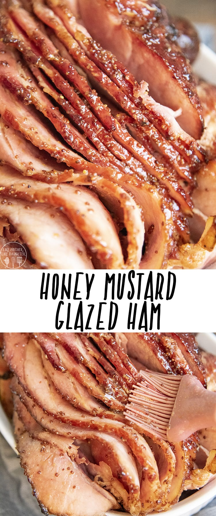 This holiday ham is covered in a perfect honey mustard ham glaze. It's a tender moist ham, with the perfect crispy edges, covered in a tangy, sweet, and salty glaze that everyone will love! #ham #holidayham #Easterham #Christmasham #hamrecipe #holidayrecipes