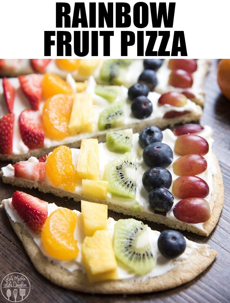 This rainbow fruit pizza is a beautiful fruit pizza topped with the best cream cheese frosting, and decorated with a variety of colored fruits, and made to look like a rainbow! #fruitpizza #dessertpizza #rainbowfruit #fruit #dessert #easyrecipes #dessertrecipes