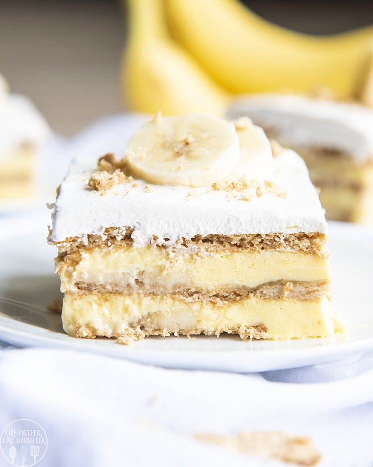 This banana cream icebox cake is the perfect no bake banana dessert. It's 5 ingredients and so easy to make for a luscious and delicious dessert!