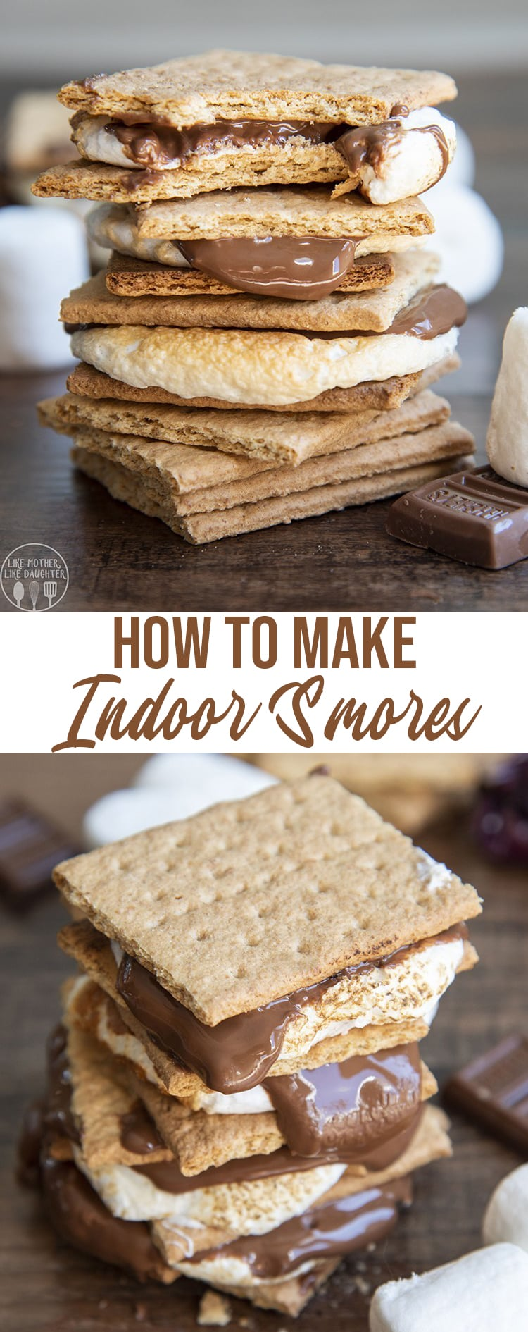 S'mores are a classic treat that you can have rain or shine, in the cold winter, or warm summer. With indoor s'mores you still get that gooey marshmallow, melted chocolate, crunchy graham cracker treat anytime you want it.