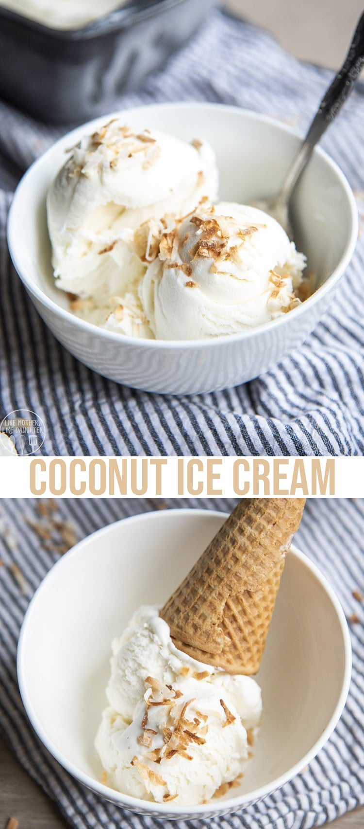 This coconut ice cream is so creamy, refreshing, sweet and delicious! It's only 4 ingredients, and has the perfect rich coconut flavor!