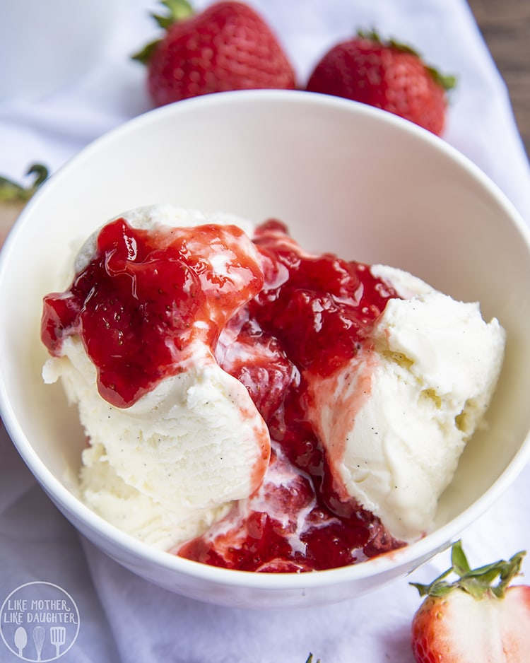 Strawberry Sauce on top of vanilla ice cream